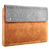 """MoKo Laptop Sleeve Fits 2019 MacBook Pro 16 Inch, MacBook Pro 15.4"""", Surface Book 3/2 15"""", Surface Laptop 3 15"""" 2019, HP Chromebook 14, Felt and PU Leather Case Bag with Pocket - Gray & Brown"""