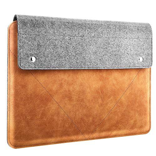MoKo Funda de Tableta Compatible con 2019 MacBook Pro 16', MacBook Pro 15.4', Surface Book 3/2 15', Surface Laptop 3 15' 2019, Bolsa de Tableta de Fieltro PU Anti-arañazos con Bolsillo - Gris & Marrón