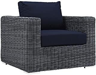 Modway EEI-1864-GRY-NAV Summon Wicker Rattan Outdoor Patio Armchair with Sunbrella Fabric Cushions, Canvas Navy