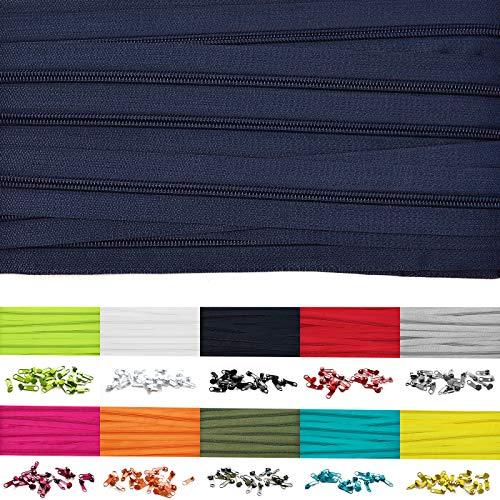 Roban Fashion 5m Endlos Reißverschluss Spirale 5mm mit 10 Zipper Meterware in 24 Farben,5m+10Zipper,Dunkelblau