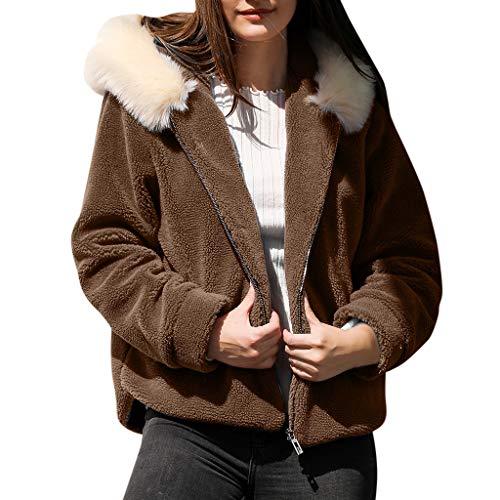 COZOCO Chaqueta Casual De Color Sólido para Mujer Camisa Gruesa De Bolsillo Cárdigan Suéter Suelto Chaqueta con Capucha Y Cremallera