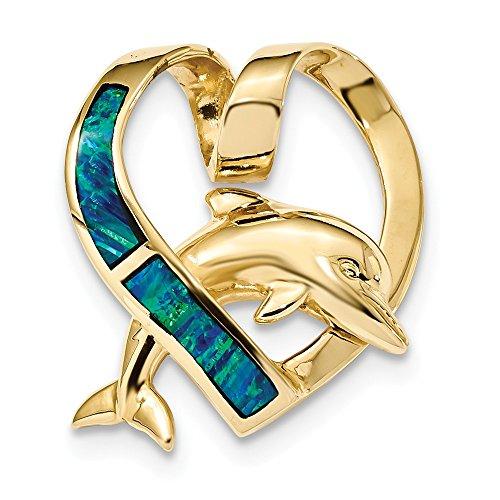 Diamond2Deal Colgante de oro amarillo pulido de 14 quilates con ópalo azul de imitación con diseño de delfín para mujer