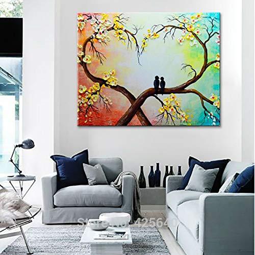 AQgyuh Puzzle 1000 Piezas Flor árbol Amor pájaro Pintura Arte Imagen Puzzle 1000 Piezas clementoni Educativo Divertido Juego Familiar para niños adultos50x75cm(20x30inch)