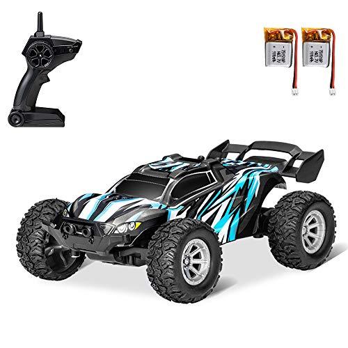 GoolRC S638 RC Coches Mini Coche de Control Remoto para Niños 2.4GHz 1:32 RC Car con luz LED 20KM / H Coche de Carreras de Alta Velocidad con 2 Baterías (Azul, 2 Batería)