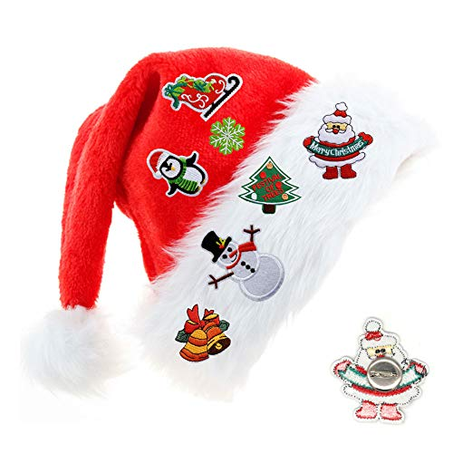 Hamnor Kids Christmas Hat with 7 Cute Banners Plush Velvet Christmas Party Hat Christmas Santa Hats with Plush Ball for Children