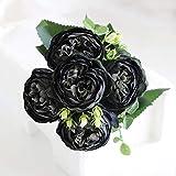 ZCMTD 9 Têtes Artificielles Pivoine Thé Rose Fleurs Bouquet Camélia Soie Fausse Fleur pour Bricolage Maison Jardin Décoration de Mariage Noir