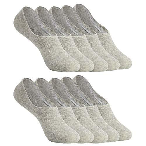 YOUCHAN Calcetines Mujer Hombre 10 Pares Tobilleros Invisibles Antideslizante Algodon Silicona Calcetines Verano-Gris-47-50