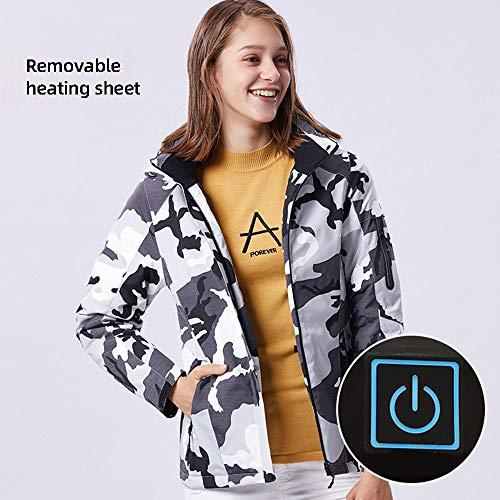 Roboraty USB verwarmde damesjack, outdoor elektrische jas, afneembaar, tweedelig, winddicht, warme kleding, verwarmde kleding voor kamperen, paardrijden, skiën, 10XL 3XL camouflage
