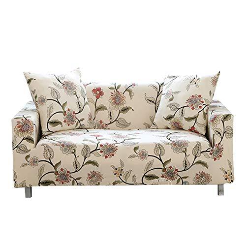 WONGS BEDDING Sofabezug Sofa Überwürfe Elastische Stretch Sofa Abdeckung Sofahusse Sofaüberzug Sofabezug Blumenmuster Couchhusse Antirutsch Weich Stoff für Sofa Couch(3 Sitzer 185-230cm)