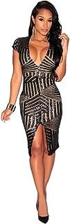 Kearia Women Short Sleeve Deep V-Neck Sequin Split Bodycon Cocktail Party Dress