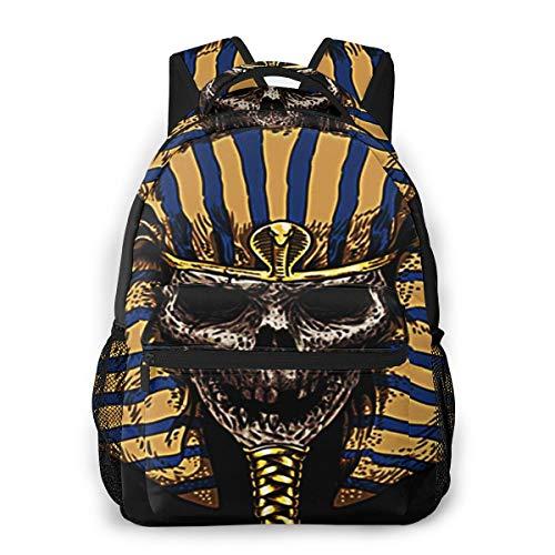 Laptop Rucksack Schulrucksack Mama Pharao Schädel Gesicht, 14 Zoll Reise Daypack Wasserdicht für Arbeit Business Schule Männer Frauen