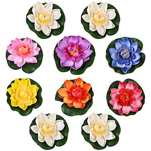 KONUNUS 10 Stück Schwimmende Blumen, Künstliche Seerose,schwimmend Lotusblüte Wasserlilie10cm Teichrose Schaum Seerose für Chwimmende Aquarium Garten Pool