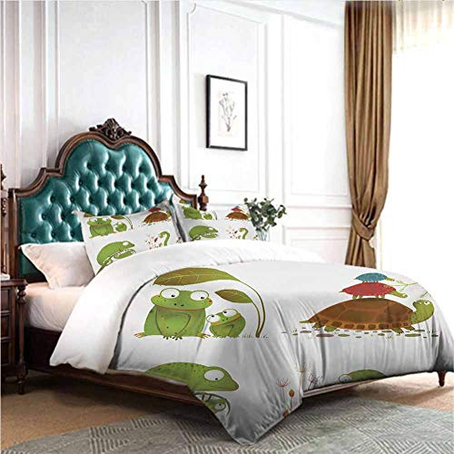 Hiiiman Comforter Bedding Set 4pcs Reptile Family Colorful Baby Collection Snake Frog Ninja Turtles Love Mother Full Size W79 INCH x L90 INCH 2 Pillow Sham