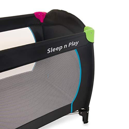 Hauck Sleep N Play Go Plus Kombi-Reisebett, 4-teilig, ab Geburt bis 15 kg, inkl. Gesetzl. Schlupf, Rollen, Matratze, Tragetasche, mehrfarbig schwarz - 6