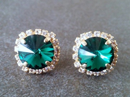 Green Emerald Studs Crystal big round posts stud overseas Selling and selling gold earrings