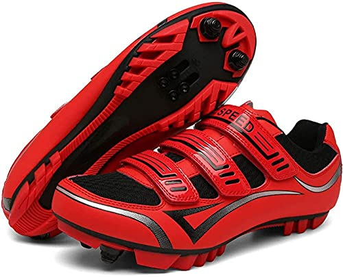 KUXUAN Zapatillas de Ciclismo SPD MTB para Hombre Mujer Ideal para Mountain Cyclo Cross Country XC Bikes en Incluido,Red-UK5=38EU=US6