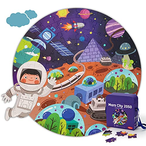 KaeKid パズル 宇宙 ジグソーパズル 102ピース 知育玩具 収納ボックス付き 親子遊び 宇宙飛行士 パズル 子供 おもちゃ 男の子 おもちゃ 女の子 3歳 4歳 5歳 6歳 7歳 8歳 人気 誕生日プレゼント クリスマスプレゼント 入園祝い(48*