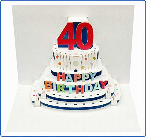 Forever Handmade Pop Up Karte zum 40. Geburtstag - eine hochwertige und originelle Glückwunschkarte zum runden Geburtstag. GP046