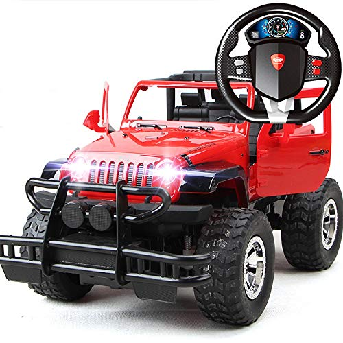 Lotee 4WD Electric RC Stunt Car Off Road Remote Control Vehicle 2.4GHz Racing Vehicle Headlights Extreme High Speed Rotation Racing Car for Kids Best Present (Color : Red, Size : 2 Battery Packs)