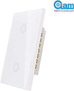 NEO Coolcam Z-Wave Plus Smart Light Switch 1 Gang 2 Switchs In-Wall Smart Switch Touch Panel Touch Sensitive Home Automation Remote Control, Work with SmartThings and Vera