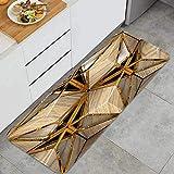 Cocina Antideslizante Alfombras de pie Madera ecológica 3D Azulejos Metal Dorado Decoración de Piso Confortables para el hogar, Fregadero, lavandería-120cm x 45cm