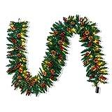 JOYIN 270 cm Guirnalda de Navidad Decoración Led para Árbol Artificial Premium 100 Luces LED Y Piñas Naturales Conectable A Más Guirnaldas