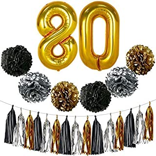 Gold 80th Birthday Decorations – Large, Pack of 23   Black, Gold and Silver PomPoms and Tassel   80th Birthday Party Supplies Kit   80 Balloons   80th Birthday Party Decorations   80 Party Decor