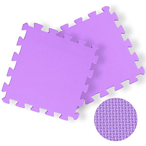 Dasuy Extra Thick Exercise Mat Home Flooring Puzzle Foam Mats Yoga Gym Gymnastic Cushioned Workout Floor Interlocking EVA Mats (16 Tiles) (Purple, 16pcs)