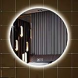 Espejo Baño Redondo Iluminado con LED, Espejo de Pared con Luz LED, Espejo De Afeitar con Luz Blanca, Sin Borde, Hotel/Dormitorio/Sala de Estar