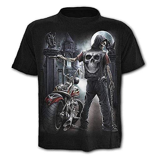 Camiseta Hombre Calavera - gótico - Rock - Punk - Oscuro - Divertido - Metal - Motero - Manga Corta - niño - Luna - Disfraz - Halloween - Color Negro