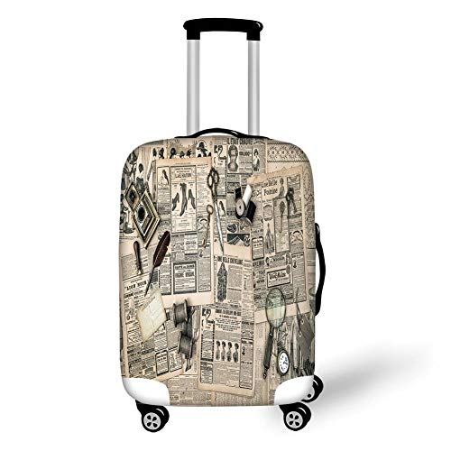 Travel Luggage Cover Suitcase Protector,Clock Decor,Antique Accessories Design Old Fashion Magazine Sewing...