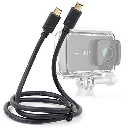 DURAGADGET Cable USB C a USB C, bañado en Oro Compatible con YI 4K+ cámara de Acción (Modelo Plus Solo)
