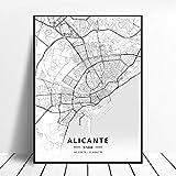 shuimanjinshan Huelva Un Coruña Valladolid Alicante Badajoz Mostoles España Mapa Póster 50X70Cm No Frame W-439