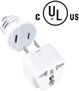 E26/E27 Light Socket Outlet 110V Light Plug Converter Rated 110W or 1A, 2 Prong Receptacle in Screw Adapter with 2 Prong to 3 Prong Adapter