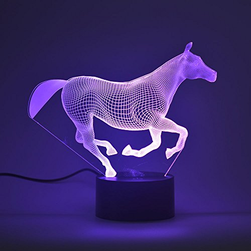 3D Optical Illusion Night Light,Touch LED Table Desk Lamp 7 Color Changing USB Charger Powered Touch Switch Desk Night Light for Kids Friends Gift(Horse)