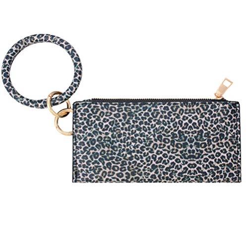 EXCEART Armband Armband Schlüsselbund PU Leder ID-Kartenhalter Geldbörse Große Kreis Armreif Schlüsselring Reißverschluss Handtasche Marine
