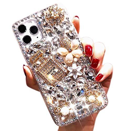 Poowear iPhone 11 Shiny Rhinestone Case for Girls Fashion Luxury Bling Bling Diamond Rhinestone Gemstone 3D Perfume Bottle and Flower Gemstone Soft TPU Back case for iPhone 11 6.1 inch