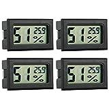GuDoQi Termometro Higrometro Digital, 4 Piezas, Termómetro Acuario, Termometros para Incubadoras, Incubadoras de Huevos, Terrarios para Reptiles