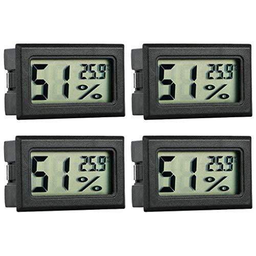 GuDoQi Digital Thermometer Hygrometer, 4 Stück, Mini Digital Temperaturmesser Feuchtigkeitsmesser für Reptilien, Inkubator Aquarium, Gewächshaus, Autos, Zuhause, Büro