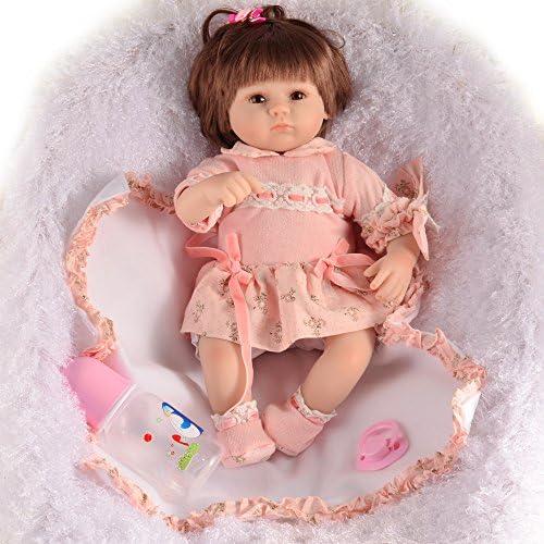 LIJUN Rebirth Puppe Simulation Silikon Baby Spielzeug 45cm Wird Schnuller Saugen,45cm