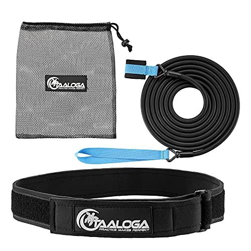 TAALOGA® Schwimmgurt   Schwimmen an der Stelle ohne Gegenstromanlage   Schwimmwiderstandseil für Sport und Spass in jedem Pool