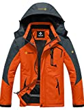 GEMYSE Chaqueta de esquí Impermeable de montaña para Hombre Abrigo de Invierno al Aire Libre de Lana a Prueba de Viento con Capucha (Naranja Gris,M)