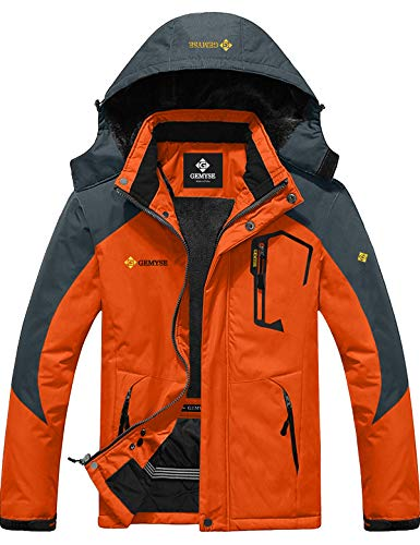 GEMYSE wasserdichte Skijacke für Herren Winddichte Fleece Outdoor-Winterjacke mit Kapuze (Orange Grau,2XL)
