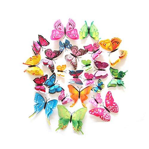Skyshadow 24 Stks 3D Vlinder Stickers Dubbele Vleugels met Pin Art Gordijn Decoratie (Pin)