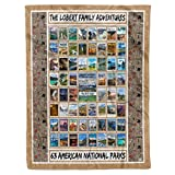 Personalized Custom 63 American National Parks Sherpa Fleece Throw Blanket Twin Queen Full King Size Tapestry Birthday Christmas Wedding Anniversary RV Camping Presents for Campers Couples