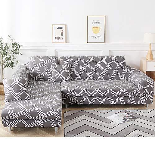 Fundas de sofá seccionales en forma de L, funda elástica para sofá, de tela, protector de mascotas, fundas de sofá de esquina modernas (gris+blanco, tres asientos+tres plazas)