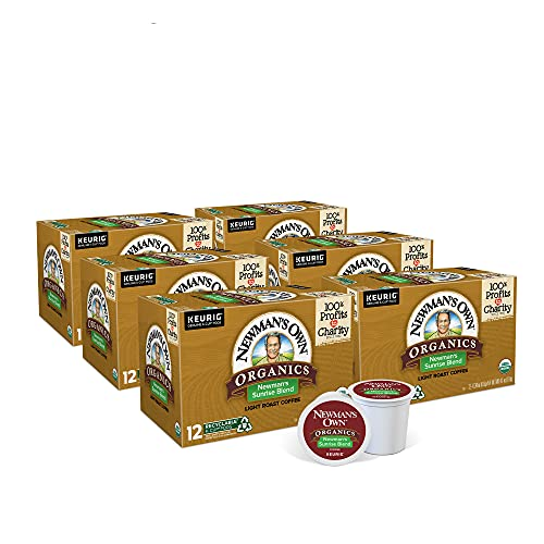 Newman's Own Organics Newman's Sunrise Blend, Single-Serve Keurig K-Cup Pods, Light Roast Coffee Pods, 72 Count