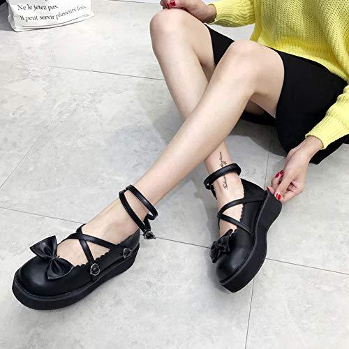 DJDLNK Student Tägliche Süße Lolita Kleid Kreuz Verband Bowknot Schuhe Runden Kopf Dicken Boden Frauen Schuhe