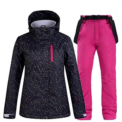 Im Freien Damen Skianzüge 2 Sätze, Wasserdicht Winddicht Warm Schneesicher Skijacke Skihose Black(Pink)-S