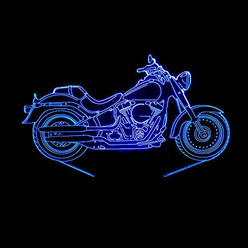 Laizs Led 3D Nachtlicht 7 Farben Für Kindergeschenke Abs-Grundstimmung Beleuchtet Helles Notenschaltermotorrad Der Optischen Täuschung Der Dekoration
